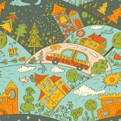 Seamless pattern with colored houses, car and trees. Vector illustration — Stock Vector
