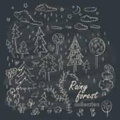 Hand drawn rainy forest doodle design elements set — Stock Vector