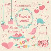 Happy Valentine's Day hand drawn card. — Vettoriale Stock