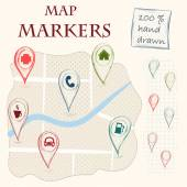Doodle map markers and flat navigation icons. — Stock Vector