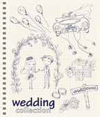 Wedding hand drawn doodle collection — Stockvektor