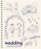 Wedding hand drawn doodle collection — Vettoriale Stock
