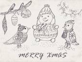 Christmas Card with  birds and snowman. — Stock Vector