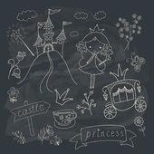 Hand drawn fairy tale princess doodle design — Vecteur