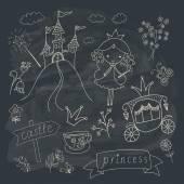 Hand drawn fairy tale princess doodle design — Stockvector