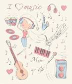 Hand drawn girl and music accessories — Stockvector