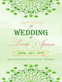 Green floral wedding invitation — Vetor de Stock