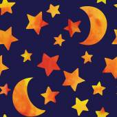 Pattern with moon and stars. — Stock Vector