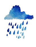 Cloud with raindrops Watercolor effect — Stock Vector