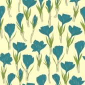 Spring crocus flowers seamless pattern — Stock Vector