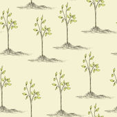 Tree planting seamless pattern — Stock Vector