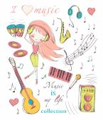 Girl and music — Vector de stock