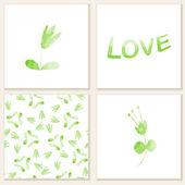 Κάρτες με ακουαρέλα floral στοιχεία. — Διανυσματικό Αρχείο