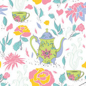 Tea party seamless pattern — Stock Vector