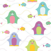 Penguin seamless pattern. — Stock Vector