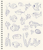Cartoon sea fish — Vector de stock