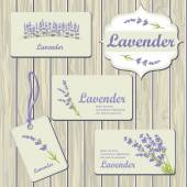 Lavender cards and labels — Vettoriale Stock