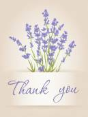 Thank you card with lavender — Stockvektor