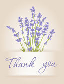 Thank you card with lavender — Stock Vector