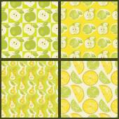 Seamless patterns with fruit — Stock Vector