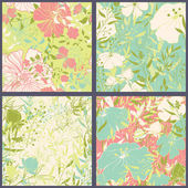 Set of floral seamles patterns. — Stock Vector