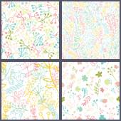 Set of floral seamles patterns. — Cтоковый вектор