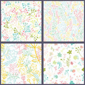 Set of floral seamles patterns. — ストックベクタ