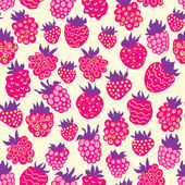 Seamless pattern with raspberries — Stock Vector