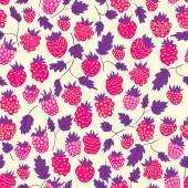 Raspberry seamless pattern — Stock Vector