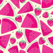 Watermelon slices seamless pattern — Stock Vector