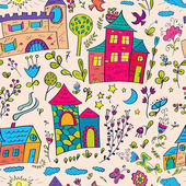 Seamless pattern with little castles and flowers. Hand drawn design for fabric, wrapping paper, greeting cards or invitation. Vector illustration — Stockvektor