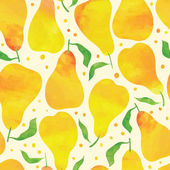 Seamless pattern with watercolor pears — Stock Vector