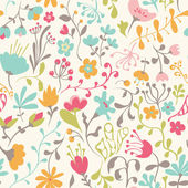 Seamless pattern with hand drawn doodle flowers — Vetor de Stock