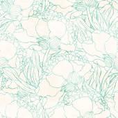 Seamless pattern with hand drawn flowers — 图库矢量图片