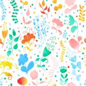 Seamless pattern with watercolor flowers — Stock Vector