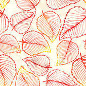 Seamless pattern with watercolor autumn leaves. — Stock Vector