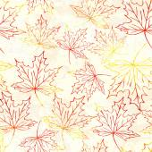 Seamless pattern with watercolor maple leaves — Stock Vector