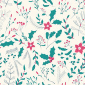 Seamless floral pattern with winter plants. — Stock Vector