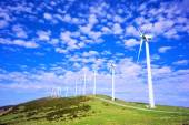 Wind turbines in eolic park — Stock Photo
