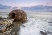 Ruins of abandoned bunker on Azkorri beach — Stock Photo