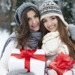 Lovely girls with Christmas gifts — Stock Photo #52437329