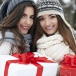 Lovely girls with Christmas gifts — Stock Photo #52438063