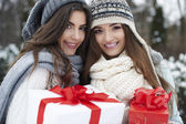 Lovely girls with Christmas gifts — Fotografia Stock