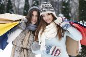 Women at winter sale — Foto Stock
