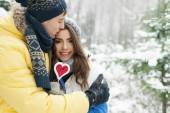 Loving couple in winter — Stok fotoğraf