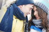 Loving couple in winter — Stock Photo