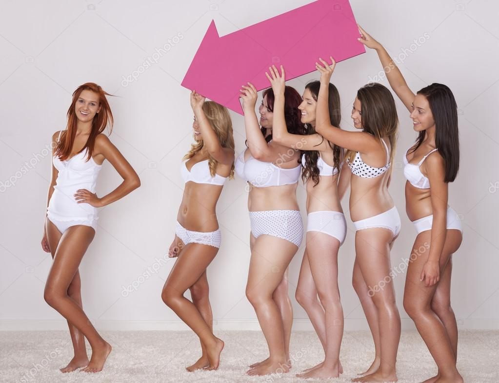Girls In Underwear Pointing Stock Photo 169 Gpointstudio