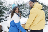 Winter holiday with my big love — Stock Photo