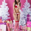 Woman in sexy lingerie of santa claus — Stock Photo #56896883