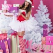 Beautiful santa claus with christmas presents — Stock Photo #56902921
